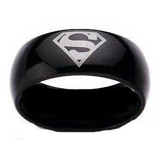 Superman Black Stainless Steel DC Width 8 mm Stainless Steel Band Ring R160 Size 6   13 Jewelry