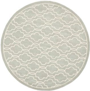 Safavieh CHT723E Chatham Collection Wool Round Handmade Area Rug, 7 Feet Diameter, Grey and Ivory