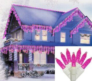 Set of 70 Pink LED M5 Mini Twinkle Icicle Christmas Lights   White Wire  String Lights  Patio, Lawn & Garden