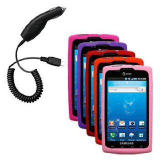 Five Silicone Cases / Skins / Covers (Hot Pink, Purple, Red, Orange, Light Pink) & Car Charger for Samsung Captivate SGH I897 Cell Phones & Accessories