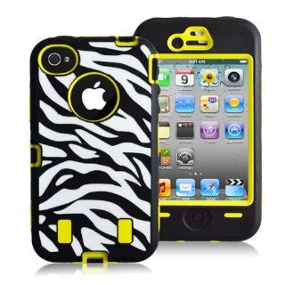 COKO@ Hard Hybrid Case Cover for Iphone 4 4s Black White Zebra Silicone TUFF case for Apple iPhone 4 4S With Front and Back Screen Protector Skin Shell (Yellow) Cell Phones & Accessories