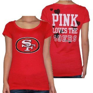 Womens NFL San Francisco 49ers T Shirt by Pink Victoria's Secret L Red  Athletic Shorts  Sports & Outdoors