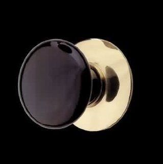 Door Knobs Black Solid Brass, Porcelain Cabinet Knob with Solid Brass Backplate  19362   Cabinet Accessories