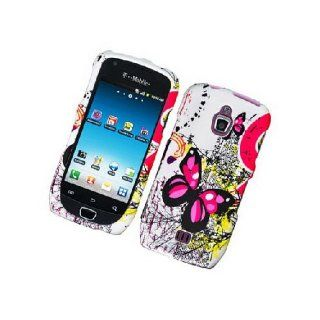 Samsung Exhibit 4G T759 SGH T759 White Pink Butterfly Cover Case Cell Phones & Accessories