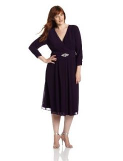 Jessica Howard Women's Plus Size Ruched Waist Dress with Chiffon Skirt, Plum, 16W
