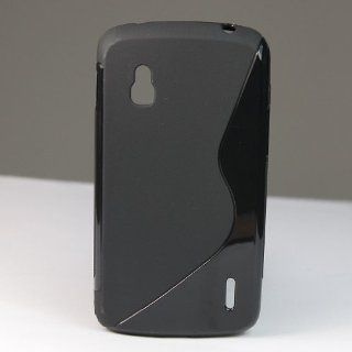 S Line Design TPU Gel Soft Case Cover for LG Google Nexus 4 Smart Phone E960 Black + 1 Gift Cell Phones & Accessories