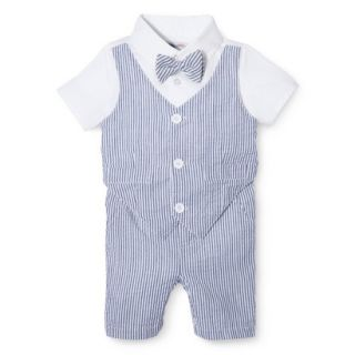G Cutee Newborn Boys Short Sleeve Seersucker Romper   Nautical Blue 18 M