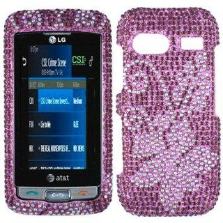 Purple Silver Flower Bling Rhinestone Crystal Case Cover Diamond Faceplate For LG Vu Plus GR700 Cell Phones & Accessories