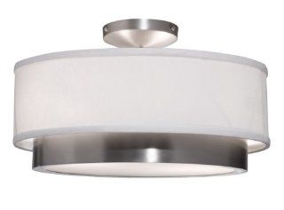 Artcraft Lighting SC785 Scandia Semi Flush Mount Light, Brushed Nickel with White Linen Shade   Semi Flush Mount Ceiling Light Fixtures