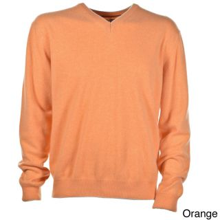 Luigi Baldo Luigi Baldo Italian Made Mens Cashmere V neck Sweater Orange Size L