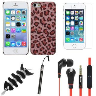 BIRUGEAR 5 Item Essential Accessories Bundle Kit for Apple iPhone 5 5G / 2013 iPhone 5S [ includes Pink Leopardo Snap on Coated Case, Screen Protector, Earbuds, Stylus, Cord Wrap ] Cell Phones & Accessories