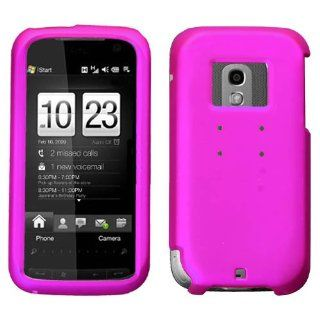 Hard Plastic Snap on Cover Fits HTC Touch Pro2 CDMA Verizon Titanium Solid Hot Pink Rubberized Verizon Cell Phones & Accessories