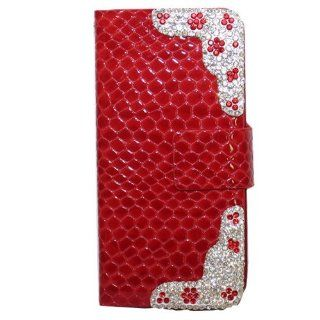 Moka PU Leather Flip Red Case Cover with Rhinestone for Apple iPhone 5 5s Cell Phones & Accessories