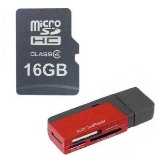 Midwest Memory OEM 16GB 16G Class 4 MicroSD C4 MicroSDHC Micro SDHC Flash Card with SD Adapter (BULK PACKAGED) + R12 Multi Format USB Flash Card Reader / Writer Computers & Accessories