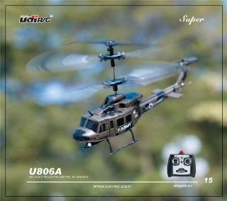 U806 Ultra Stable Mini 3.5 Channel Army Military Huey Indoor RC Helicopter with Built in Gyro Gyroscope RTF Toys & Games