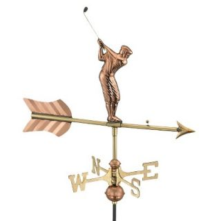 Good Directions Golfer Garden Weathervane   Polished Copper w/Roof Mount