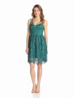 Adrianna Papell Women's Sleeveless Illusion Body Party Dress Lace Party Dress