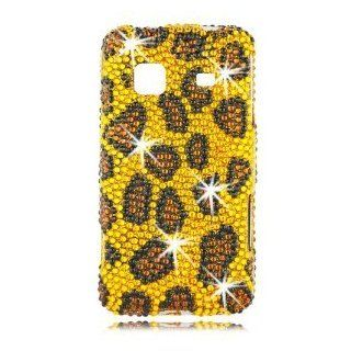 Samsung M820 Prevail Boost Mobile Phone Diamond Case (Design) Leopard Yellow + Clear Screen Guard + 1 Free Hello Kitty Neck Strap  randomly select Cell Phones & Accessories