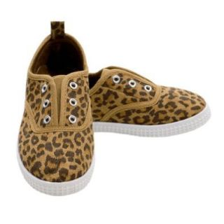 Girls Leopard Print Slip On Canvas Tennis Shoes Little Girls 4 Consolidated Clothiers Shoes