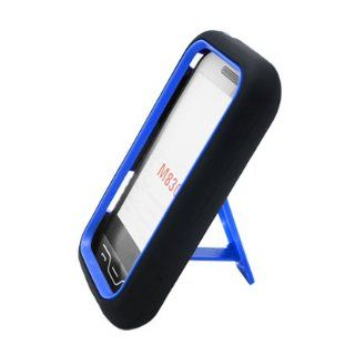 Aimo Wireless SAMM830PCMX202S Guerilla Armor Hybrid Case with Kickstand for Samsung Galaxy Rush M830   Retail Packaging   Black/Blue Cell Phones & Accessories