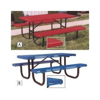 Thermoplastic Coated Steel Picnic Table   8'L   Standard   Blue   Blue