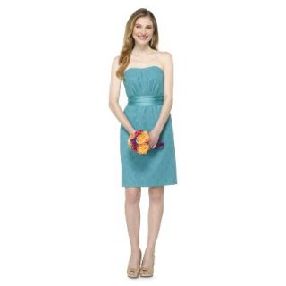 TEVOLIO Womens Lace Strapless Dress   Blue Ocean   6