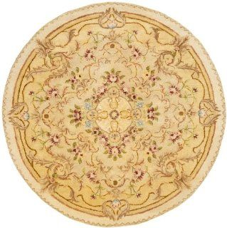 Safavieh Empire Collection EM823A Handmade Beige and Light Gold Wool Round Area Rug, 3 Feet 6 Inch
