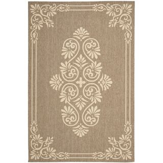 Safavieh Indoor/ Outdoor Courtyard Brown/ Creme Rug (67 X 96)