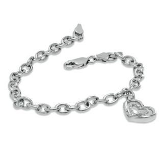 The Shared Heart™ Diamond Accent Heart Charm Bracelet in Sterling