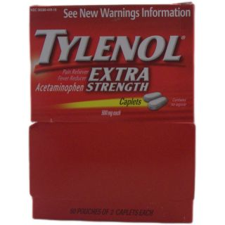 Tylenol Extra Strength Pain Reliever 2 caplet Pouches (pack Of 50)