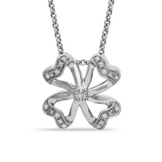 10 CT. T.W. Diamond Four Leaf Clover Pendant in Sterling Silver