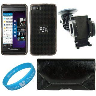 Black Classic Faux Leather Nylon Holster Case w/ Fixed Belt Clip & Belt Loops for BlackBerry Z10 Smart Phone + Smoke Argyle Premium TPU Skin Cover Case + Universal Windshield Vehicle Mount + SumacLife TM Wisdom Courage Wristband Cell Phones & Acce