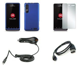 Motorola Droid 3 XT862 (Verizon) Premium Combo Pack   Blue Rubberized Shield Hard Case Cover + Atom LED Keychain Light + Screen Protector + Micro USB Data Cable + Car Charger Cell Phones & Accessories