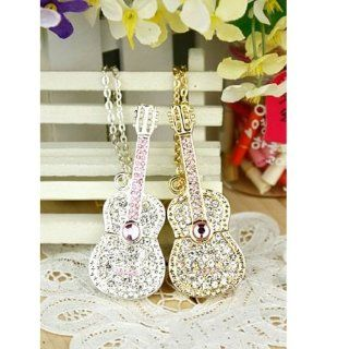 8GB Crystal Diamond Jewelry Guitar USB Flash Drive with Necklace   Gold Computers & Accessories