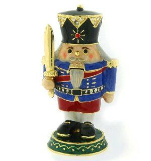 Swarovski Crystals Nutcracker Christmas Box Red Figurine Trinket Jewelry Pill  Collectible Figurines