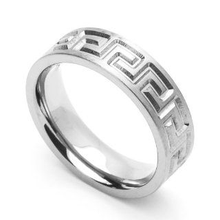 6MM Comfort Fit Stainless Steel Wedding Band Greek Key Ring (Size 6 to 14) Jewelry