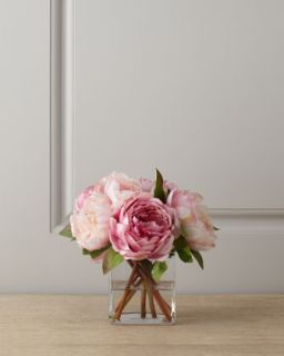 Pink Peonies in Glass Cube   Diane James