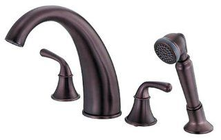 Danze D307756RB Bannockburn Two Handle Roman Tub Faucet with Soft Touch Personal Shower, Oil Rubbed Bronze   Tub Filler Faucets