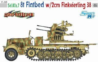 1/35 Cyber Hobby Sd.Kfz.7 8t Halftrack Flatbed w/ 2cm Flak 38 Model Kit Flakvierling German Nazi armored military vehicle WWII World War 2 two II secong Gun combat Toys & Games