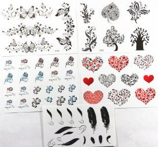 GGSELL GGSELL new design hot selling temporary tattoo stickers combination 5pcs/package different designs, it includes black and white butterflies/black trees/colorful black and white folowers/red hearts/black hearts/flower hearts/feathers/etc.  Body Pain