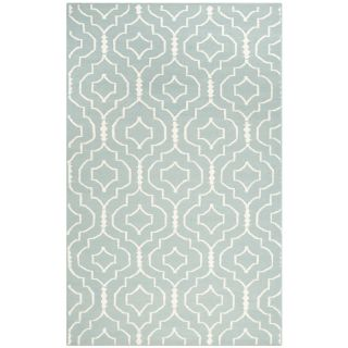 Safavieh Hand woven Moroccan Dhurrie Light Blue/ Ivory Wool Area Rug (5 X 8)