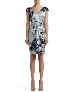 Womens Floral Silhouette Print Stretch Silk Charmeuse Cap Sleeve Dress   St.