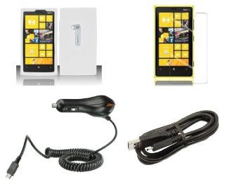 Nokia Lumia 920 (AT&T) Combo   White Silicone Gel Cover + Atom LED Keychain Light + Screen Protector + Micro USB Cable + Car Charger Cell Phones & Accessories