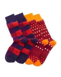 2 Pair Mens Cashmere Socks Boxed Set, Navy/Berry/Multi   Arthur George by