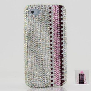 Swarovski Luxury Diamond AB Crystal Pearls Bling Case Cover for iphone 4 / 4s 100% Handcrafted by BlingAngels + Branded Pink Carry Pouch Cell Phones & Accessories