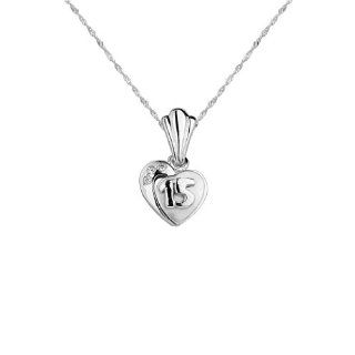 .925 Sterling Silver Rhodium Plated CZ Quincenera Sweet 15 Heart Charm Pendant with .925 Sterling Silver 1.2mm Singapore Chain with Lobster Claw Clasp (Rhodium Plated)   Pendant Necklace Combination (Different Chain Lengths Available) The World Jewelry Ce