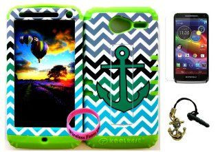 Premium Hybrid 2 in 1 Case Cover Kickstand Teal Anchor on Teal, Black and Gray Chevron Pattern Design Snap on for Verizon Motorola Xt 901 Motorola Electrify M + Lime Silicone (Included Screen Protector, Anchor Charm Dust Plug and Wristband Exclusively By