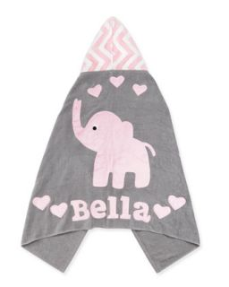 Personalized Big Foot Elephant Hooded Towel, Pink   Boogie Baby
