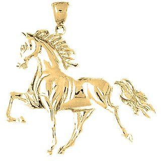 Gold Plated 925 Sterling Silver Horse Pendant Jewelry