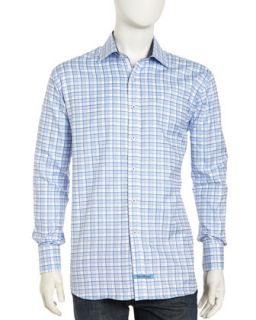 Long Sleeve Plaid Button Front Poplin Dress Shirt, Blue